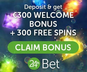 24hBet Casino Online - 350 free spins & €300 free bonus code