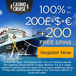 Casino Cruise 200 free spins and €1000 exclusive free bonus