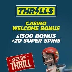 Thrills Casino | €1500 Bonus + 20 Super Free Spins | Big jackpot games!