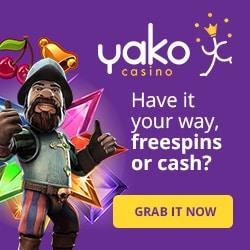 Yako Casino 100 free spins and 200% up to €700 free bonus