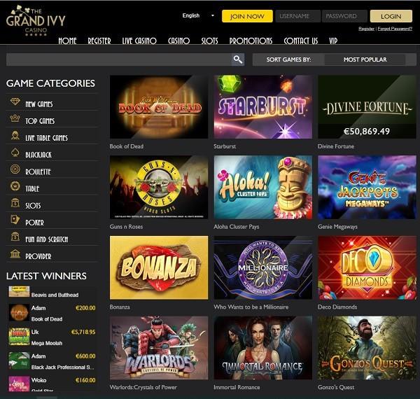 Grand Ivy Casino free spins bonus