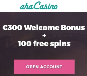 Aha Casino 100 free spins on slot game & €300 welcome bonus