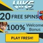 Viks Casino 20 free spins and 100% up to €200 free bonus