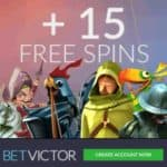 BetVictor Casino 200% up to £/€200 bonus plus 15 free spins