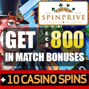 Spinprive Casino 10 free spins and 250% up to €800 bonus