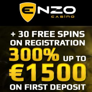 Enzo Casino | 30 free spins   300% bonus   €1500 gratis