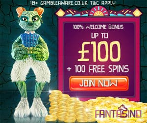 Fantasino Casino 100 free spins plus 225% up to €700 free bonus