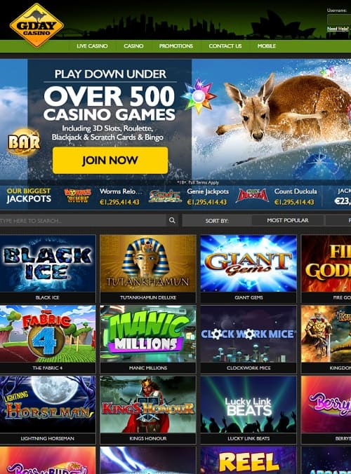 Gday Casino Online and Mobile free games