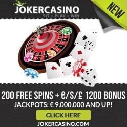 Joker Casino 10 gratis spins + €1,200 free bonus + 200 free spins