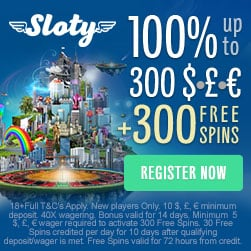 Sloty.com [Casino Review] 300 free spins and £1500 sign-up bonus