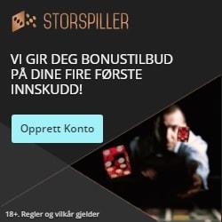Storspiller Casino 225% up to 11,250 NOK free bonus + Gratis Spins