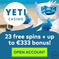 Yeti Casino 23 free spins NDB + 100% up to €333 bonus + 77 gratis spins