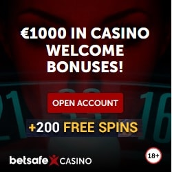 Betsafe Casino - 200 free spins and 100% up to £/€1,000 free bonus