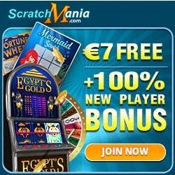 ScratchMania €7 gratis no deposit + 100% up to €200 free bonus