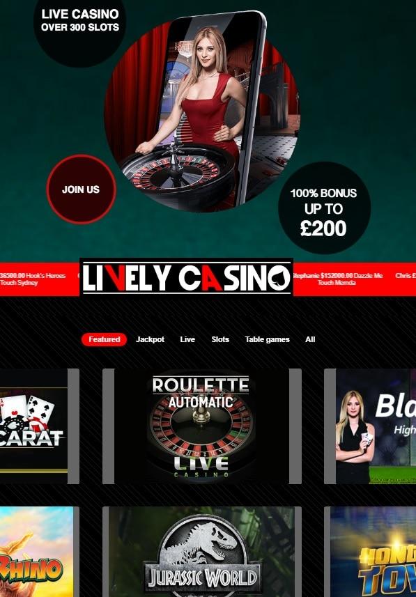 LivelyCasino.com free spins bonus