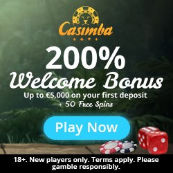CASIMBA 125 free spins + €6500 bonus + 500 loyalty points
