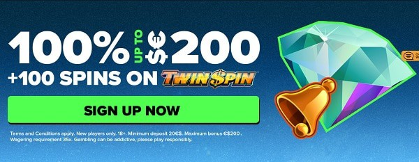 100% up to $200 bonus and 100 free spins on Twin Spin