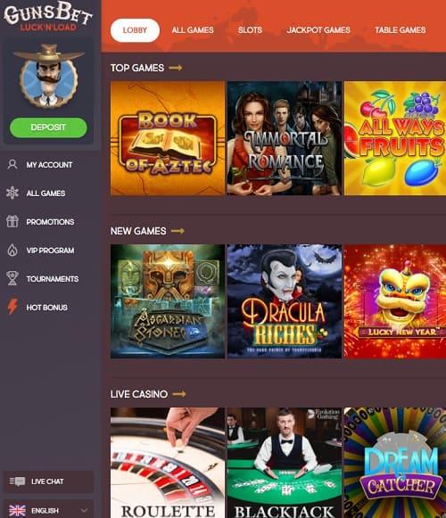 Guns Bet Casino Bonus