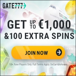 Gate777 100 gratis spins and $1000 free bonus