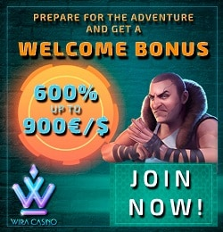 Wira Casino Review - €/$900 free bonus or 1 bitcoin bonus on deposit