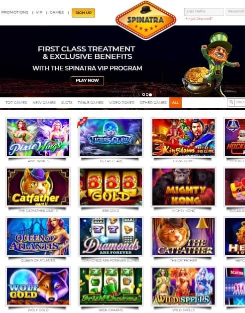 Spinatra.com Online Casino free spins bonus