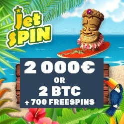 Jet Spin Casino €2000 or 2 BTC highroller bonus and 700 free spins