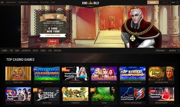 King Billy Casino Online free spins bonus