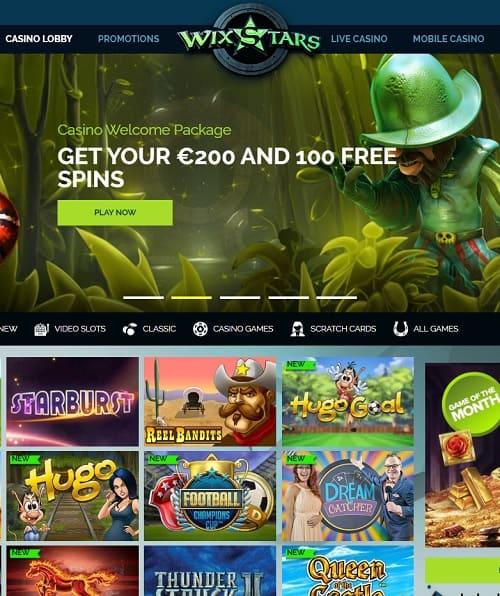 Wix Stars Casino free bonus