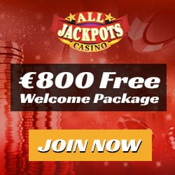 All Jackpots Casino 200% up to €800 bonus and 100 free spins
