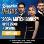 Dream Vegas Casino 50 free spins and €2,500 first deposit bonus