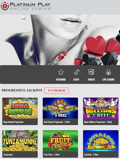Platinum Play Online 100 free spins on new slots