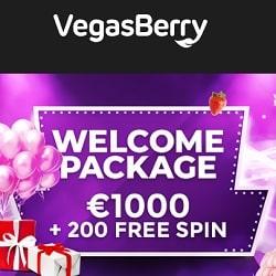 Vegas Berry Casino €1,000 free bonus + 200 no wager free spins