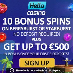 Hello Casino 10 free spins on registration - exclusive no deposit bonus