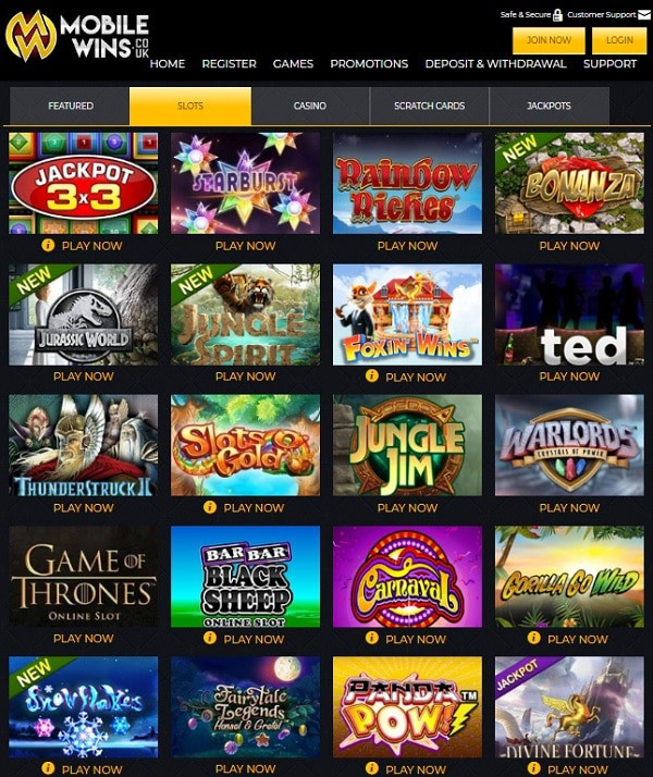 Mobile Wins Casino Review UK Casino Online