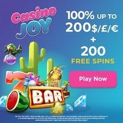 Casino Joy 200 Free Spins 100 First Deposit Bonus Up To 200