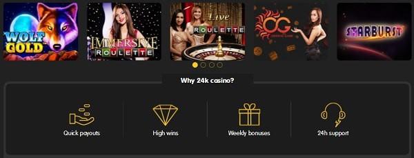 24KCasino live casino games