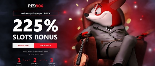 Red Dog Casino 225% welcome bonus and free spins