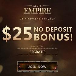 Slots Empire RTG Casino $25 exclusive free bonus without deposit