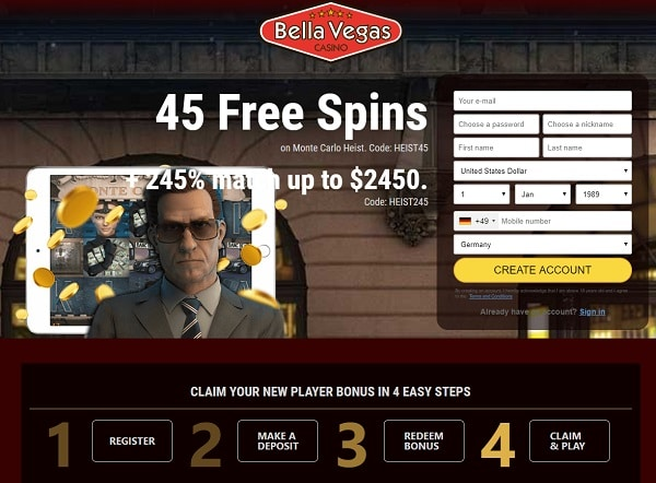 Register and play with free spins!
