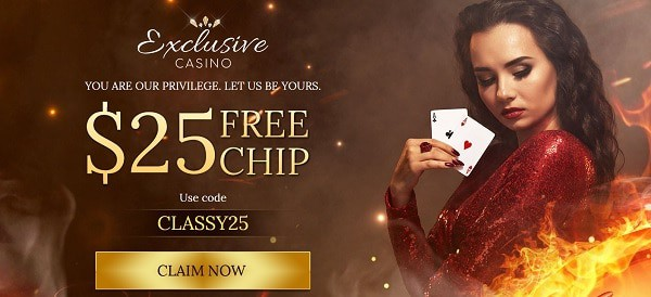 Exclusive Casino $25 free chip code