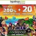 Lapalingo Casino 10 EUR free bonus plus 200% welcome bonus + 20 free spins