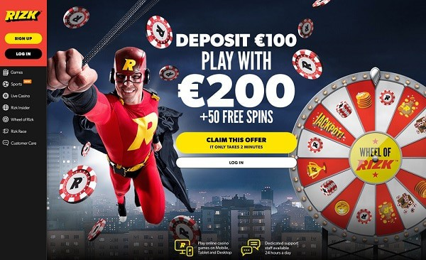 100% up to 100 and 50 free spins at Rizk