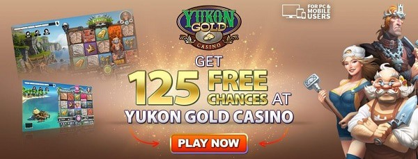 125 free spins bonus in Yukon Casino