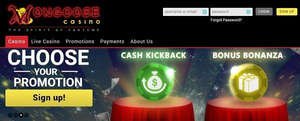 Mongoose Casino 30 gratis spins + 100% free bonus + cashback