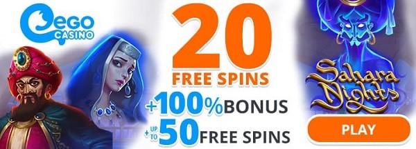 No Deposit Bonus: 20 free spins on Sahara Nights
