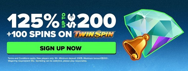 Next 125% welcome bonus and 100 free spins