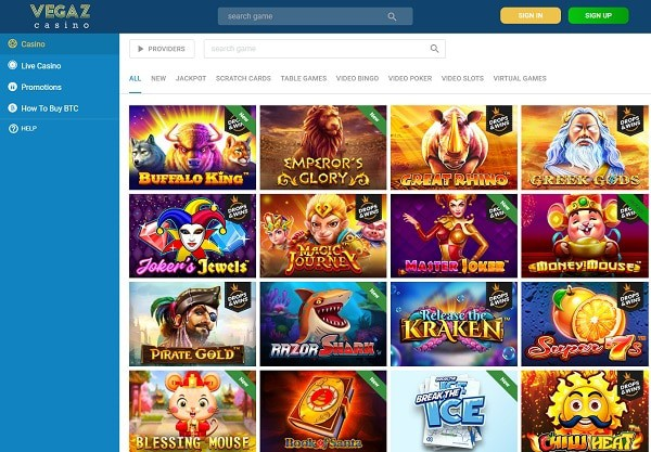 Vegaz Casino Games