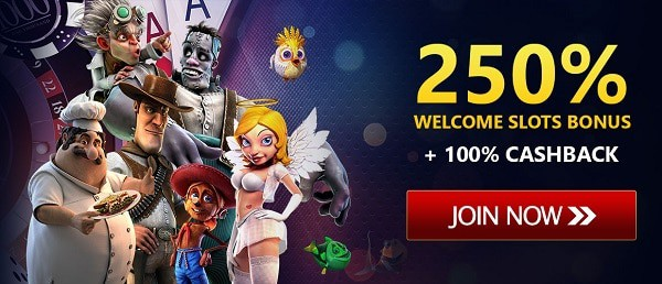 250% bonus on deposit and 100% cashback