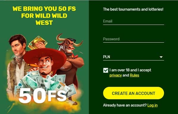 Register your account and play with free spins!