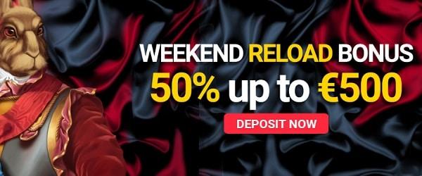 50% up to 500 EUR reload bonus every week